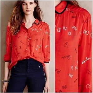 Anthropologie Maeve Art House Button Down Top